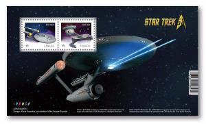 uq. STAR TREK = U.S.S. Enterprise, Klingon D7, Souvenir Sheet of 2 Canada 2016