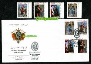 2019- Tunisia- The Husainid Beys of Tunis- Traditional clothes- FDC+Set 4v.MNH**