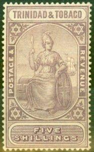 Trinidad & Tobago 1921 5s Dull Purple & Purple SG213 Fine Lightly Mtd Mint