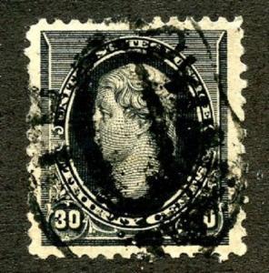 U.S. Scott 228 Picturing Thomas Jefferson VF Used w/Short Perfs.