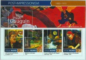 A1001 - MALDIVES, ERROR, MISPERF, Miniature sheet: 2015, Paul Gauguin, Art