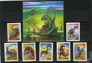 TANZANIA 1994 PREHISTORICAL ANIMALS/DINOSAURS SET OF 7 STAMPS & S/S MNH