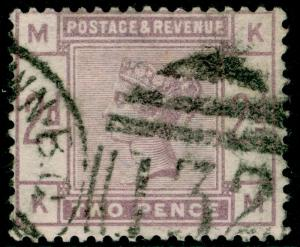 SG189, 2d lilac, USED. Cat £75. KM
