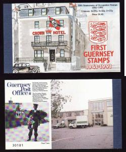 Guernsey-Sc#448a-Occupation stamps-complete booklet-3 panes-unused NH-1991-
