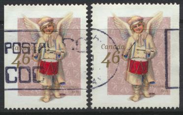 Canada SG 1949 Used pair Christmas margins imperf L & R  see details