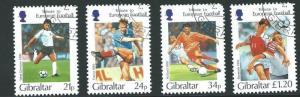 GIBRALTAR SG771/4 1995 EUROPEAN FOOTBALL SHORT PERF 34p RIGHT CORNER FINE USED