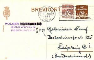 Denmark 10o Numeral on 10o Numeral Postal Card 1937 Kobenhavn, Omk. Skilt Bet...
