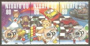 TONGA NIUAFO'OU Sc# 193 MNH FVF 3Strip UNICEF & Children Toys