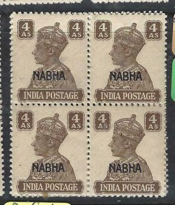 INDIA NABHA  (P1808B)  KGVI  4A    SG 114   BL OF 4   MNH