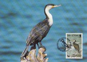 Isle of Man 1989 Maxicard Sc #401 13p Great cormorant WWF