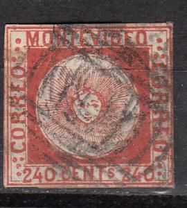 Uruguay 6 SG 7 Used Fine 1858 SCV$1200.00
