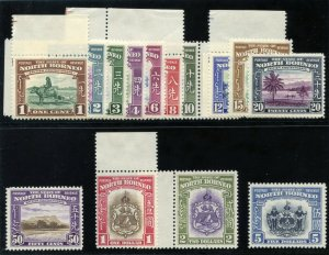North Borneo 1939 KGVI Pictorial set complete MLH. SG 303-317. Sc 193-207.