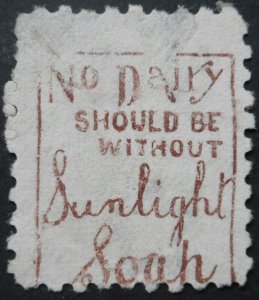 New Zealand 1893 Six Pence with Dairy Sunlight Soap Brown Red ad SG 224be used