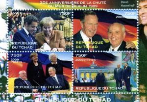 Chad 2009 FALL WALL OF BERLIN Sheet Perforated Mint (NH)
