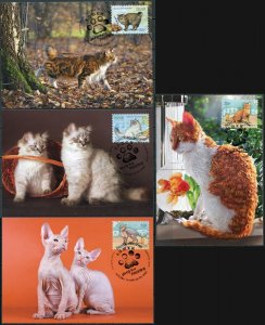 Russia. 2020. Cats. Cancellation Moscow (Mint) Set of 4 Maxi Cards