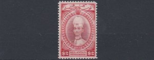 MALAYA  KELANTAN 1937 - 40  S G 53  $2   RED  BROWN  SCARLET   MH   CAT £425