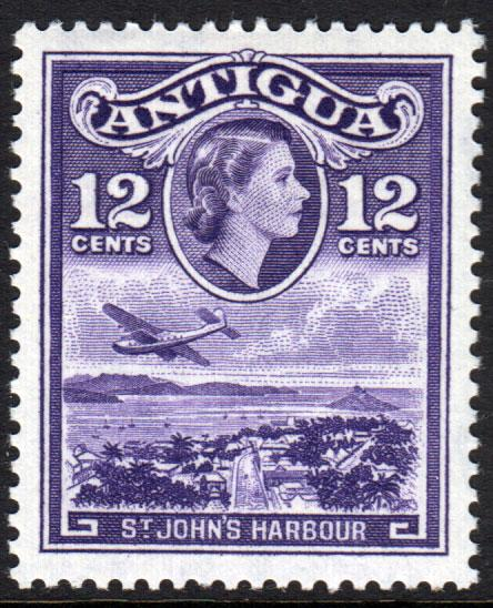 Antigua QEII 1953 12c Violet SG128 Mint Lightly Hinged