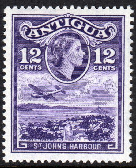 Antigua QEII 1953 12c Violet SG128 Mint Lightly Hinged
