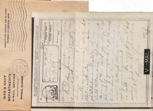 United States A.P.O.'s War and Navy Departments V-Mail Service 1943 U.S. Post...