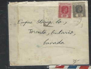 MAURITIUS COVER (P1311B) KGVI 2C+12C CENSORED COVER TO CANADA TO EMPIRE STAMP CO