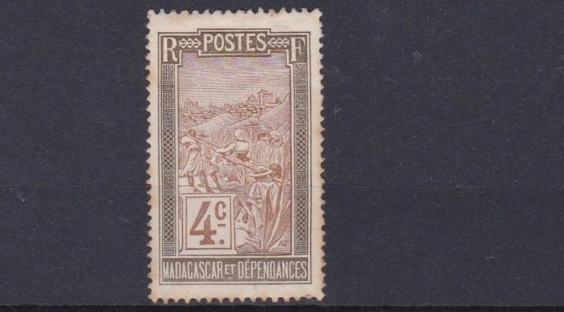MADAGASCAR    1908      4C PALE BROWN & OLIVE    MH STAINS TO BACK
