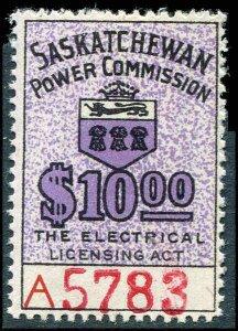 Canada Revenue Saskatchewan Power $10.00 Mint Never Hinged  # SE27