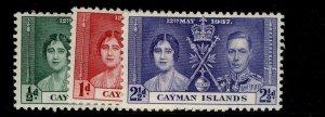 CAYMAN ISLANDS GVI SG112-114, CORONATION set, M MINT.