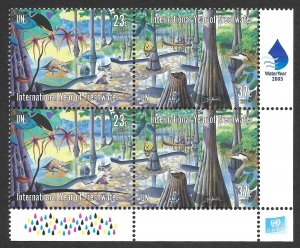 Doyle's_Stamps: MNH 2003 U.N. New York Year of Fresh Water Inscription Block