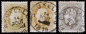 Belgium Scott 37, 37a, 38 (1875) Used H G-F, CV $14.00 B