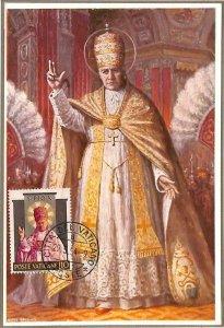 90078 -  VATICAN - Postal History -  MAXIMUM CARD -  POPE PIO X Religion 1954