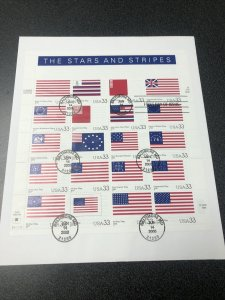 US FDC 2000 USPS Souvenir Page Stars and Stripes 20 Stamps Scott 3403 On Cover
