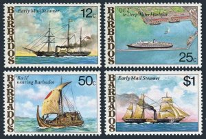 Barbados 487-490,MNH.Michel 456-459. Postal Ships,1979.Early mail steamer,Harbor