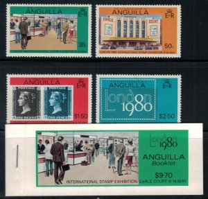 Anguilla #371-4* NH Complete set & Booklet  CV $5.60 London 1980 Phil. Exhib.