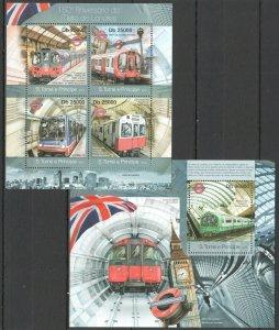 ST1803 2013 S. TOME & PRINCIPE UNDERGROUND LONDON KB+BL MNH STAMPS