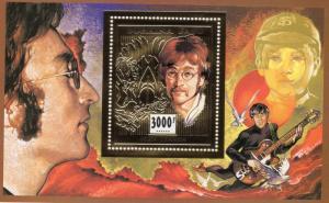 Burkina Faso 1996 Mi#Bl.163A JOHN LENNON Gold S/S Perforated MNH