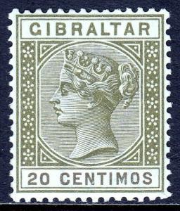 GIBRALTAR — SCOTT 31A (SG 24) — 1895 QV 20c OL. GR. & BRN. — MH — SCV $50.00