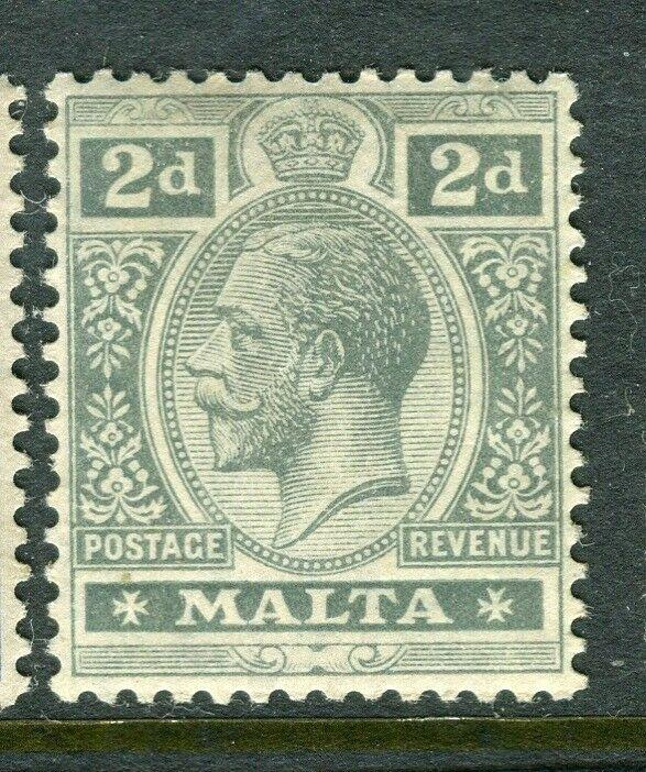 MALTA; 1914-21 early GV issue fine Mint hinged shade of 2d. value