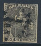 Barbados SG 12a SC# 9  Used  Black 3 margins please see scans and details