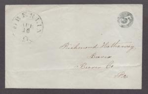 **US 19th Century Stampless Cover, Scarce Oberline, OH Sunburst Neg 5