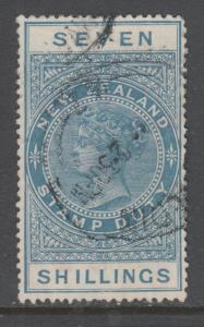 New Zealand Sc AR38, SG F137 used. 1925-30 7sh dull blue QV Postal Fiscal, sound