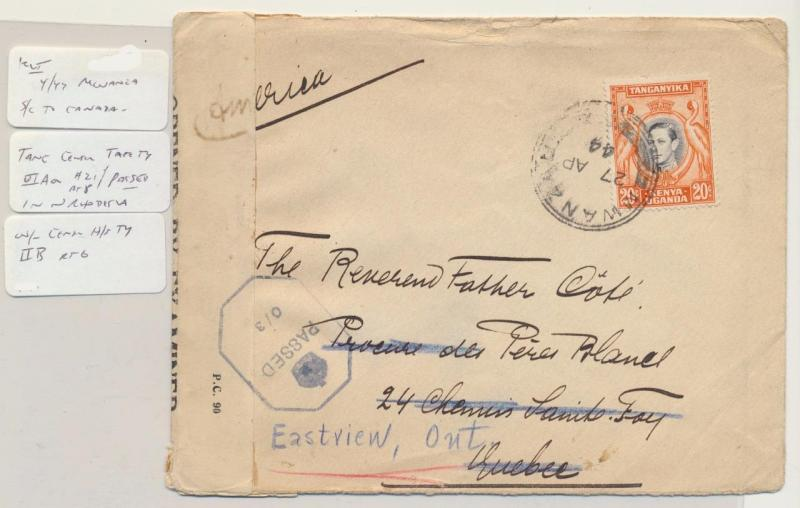 KUT (BRITISH) MWANZA TO CANADA 1944 CENSOR COVER, POSTED IN N.RHODESIA(SEE BELOW