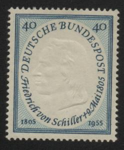 Germany 1955 Friedrich Von Schiller Scott 727 40pf Engraved & Embossed Stamp MNH