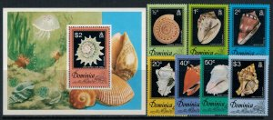 Dominica #513-20* NH  CV $6.45  Shells set & Souvenir sheet