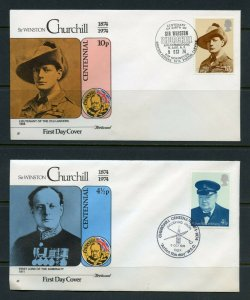 GREAT BRITAIN 1974 CENTENNIAL OF WINSTON CHURCHILL FIST DAY COVERS
