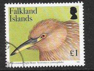 FALKLAND ISLANDS SG1037 2006 £1 BLACK CROWNED NIGHT HERON FINE USED