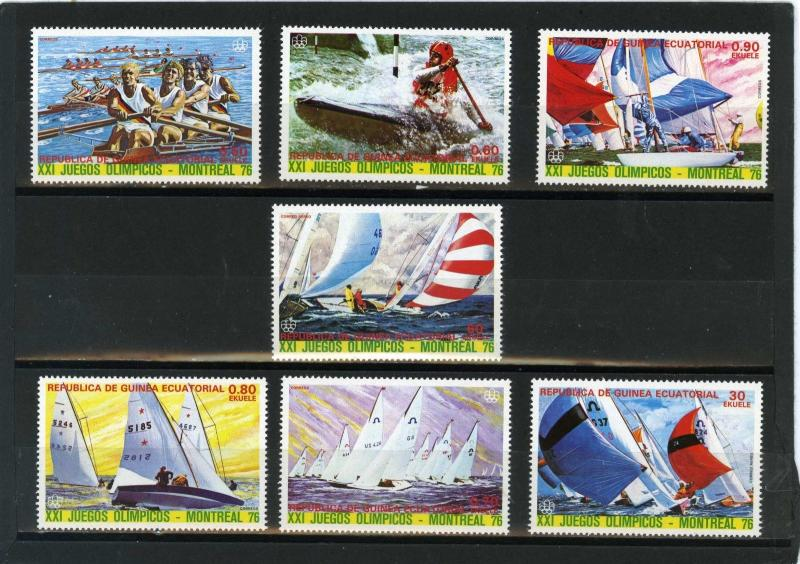 EQUATORIAL GUINEA 1976 WATER SPORTS/SUMMER OLYMPIC GAMES MONTREAL 7 STAMPS MNH