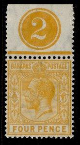 BAHAMAS GV SG85, 4d orange-yellow, M MINT. CONTROL