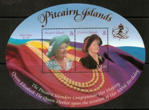 PITCAIRN ISLANDS SGMS582 2000 QUEEN MOTHERS 100th BIRTHDAY MNH