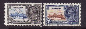 Gibraltar-Sc#100-1-used KGV Silver Jubilee-2 values of the set-1935-