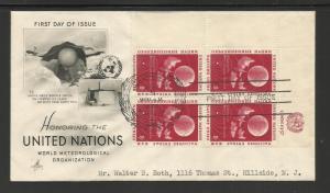 United Nations, NY 1957 Scott# 50 inscription bk 4 FDC Art Craft